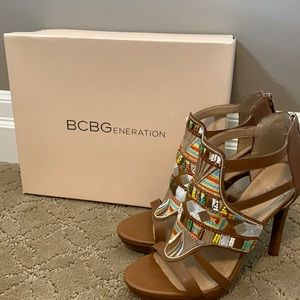 BCBG Madria Embroidery Heels. Zip back. Size 8.5